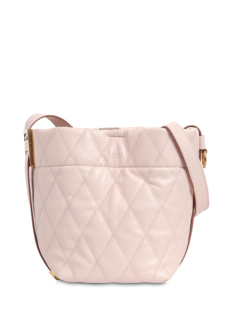 GIVENCHY Mini Gv Quilted Leather Bucket Bag in pink