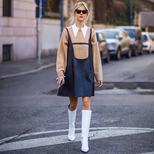 dress black dress mini dress leather dress sleeveless prada knee high boots white boots sweater white shirt