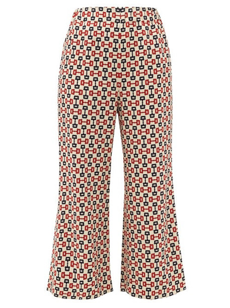 Gucci - Horse-bit Print Cropped Crépe Trousers - Womens - Ivory