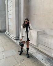 jacket,blazer,black boots,black bag,ysl bag,black dress,mini dress
