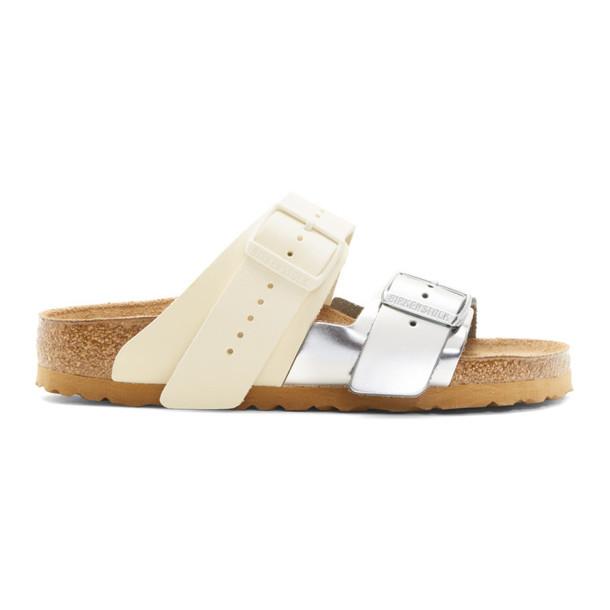 Rick Owens White & Silver Birkenstock Edition Arizona Combo Sandals