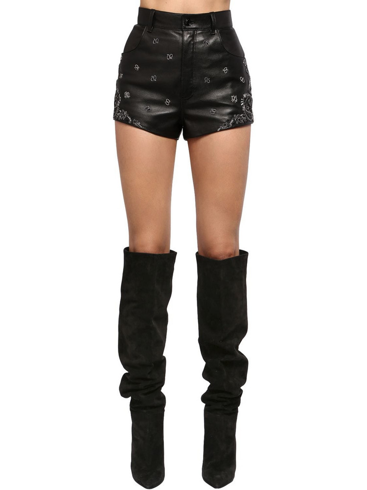 SAINT LAURENT Embroidered High Waist Leather Shorts in black