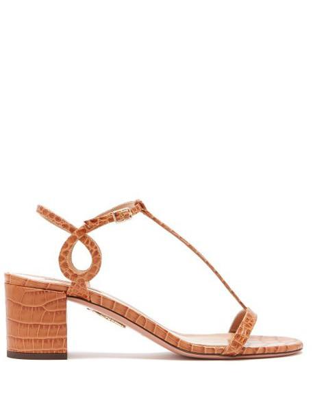 Aquazzura - Almost Bare 50 Crocodile Embossed Leather Sandals - Womens - Tan