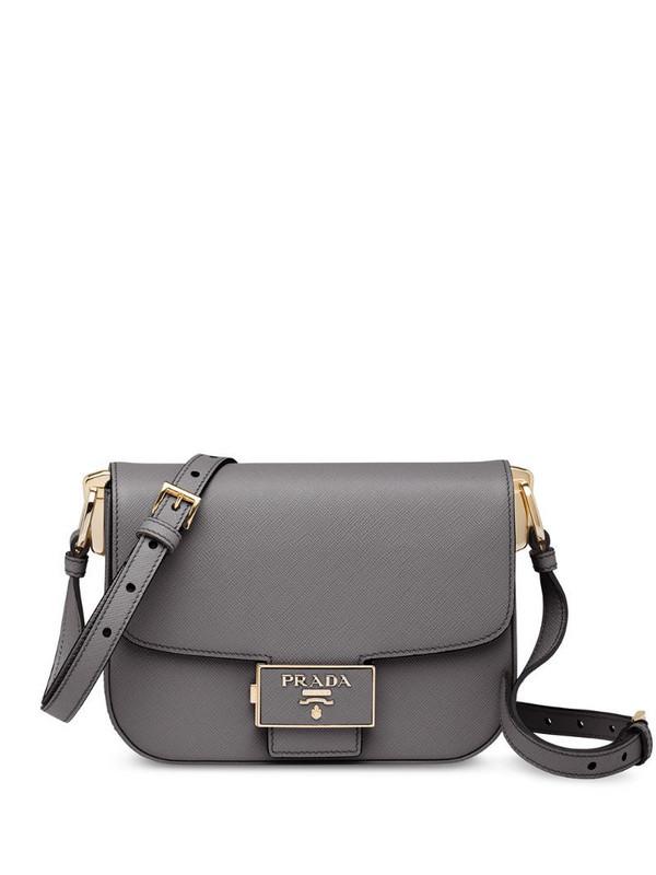 Prada push-lock shoulder bag in grey