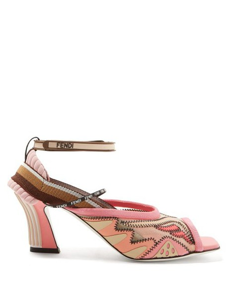 Fendi - Freedom Panelled Neoprene Sandals - Womens - Pink Multi