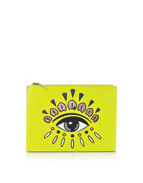 Kenzo Eye Flat Split Leather Clutch in yellow