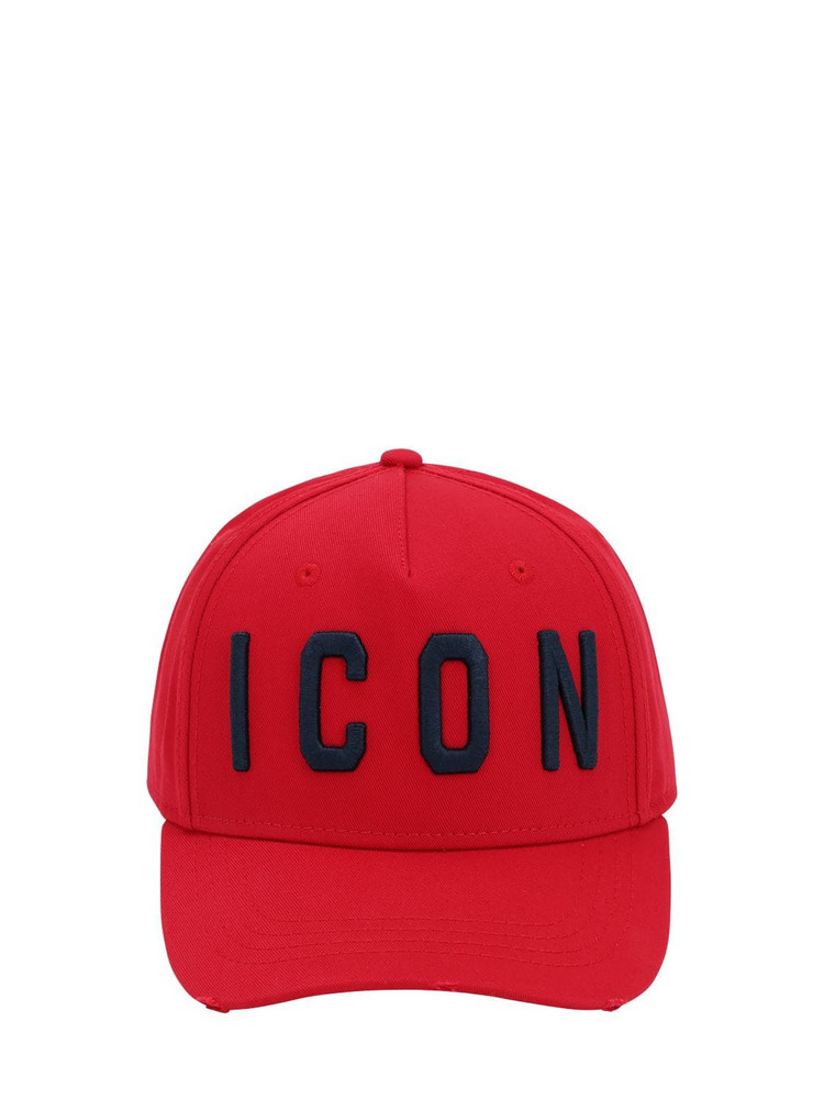 DSQUARED2 Icon Cotton Canvas Baseball Hat in navy / red