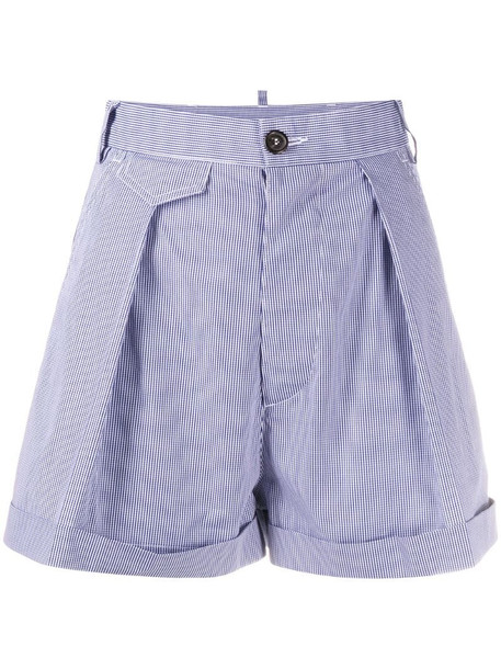 Dsquared2 high-waisted gingham shorts in blue