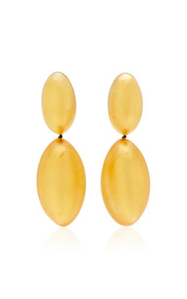 Monies India Gold-Foil Wood Clip Earrings