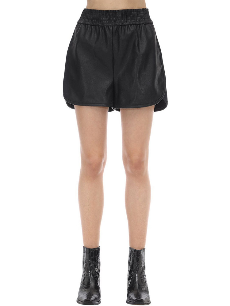WOLFORD Stella Faux Leather Shorts in black