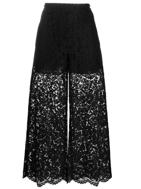Valentino floral lace cropped trousers in black