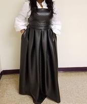 dress,quilted dress,pu leather long dress,black dress