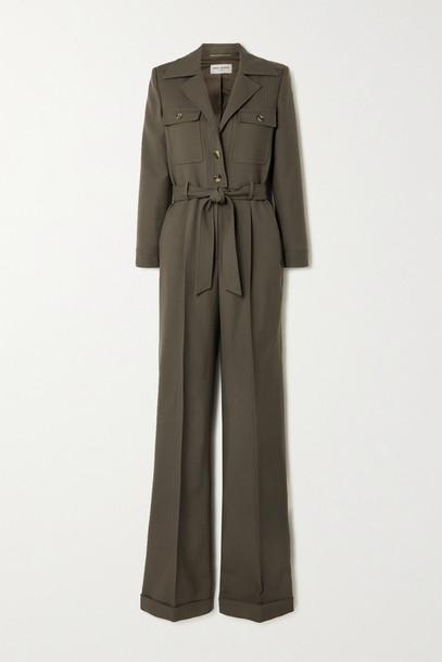 SAINT LAURENT - Belted Herringbone Wool Jumpsuit - Green