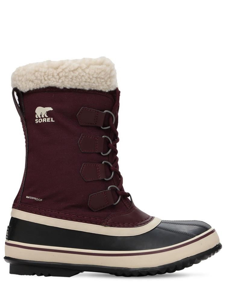 SOREL Winter Carnival Waterproof Nylon Boots in plum