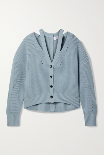 Proenza Schouler White Label - Cutout Ribbed Pointelle-knit Wool Cardigan - Light blue
