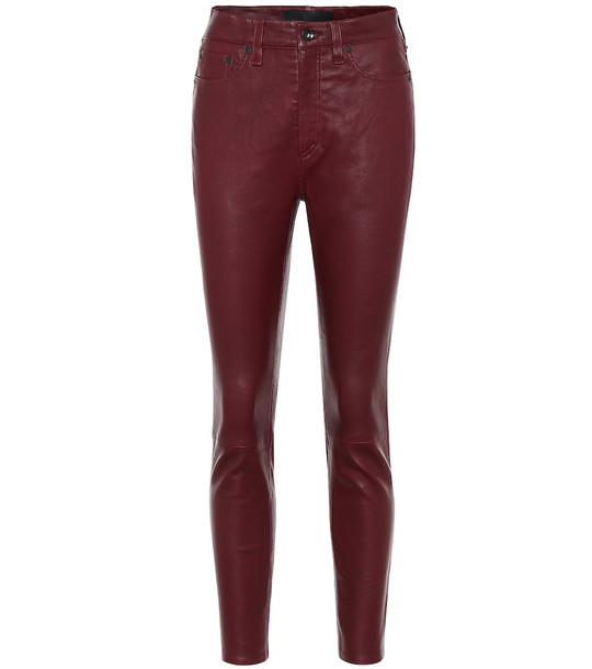 Rag & Bone Nina mid-rise leather pants in red