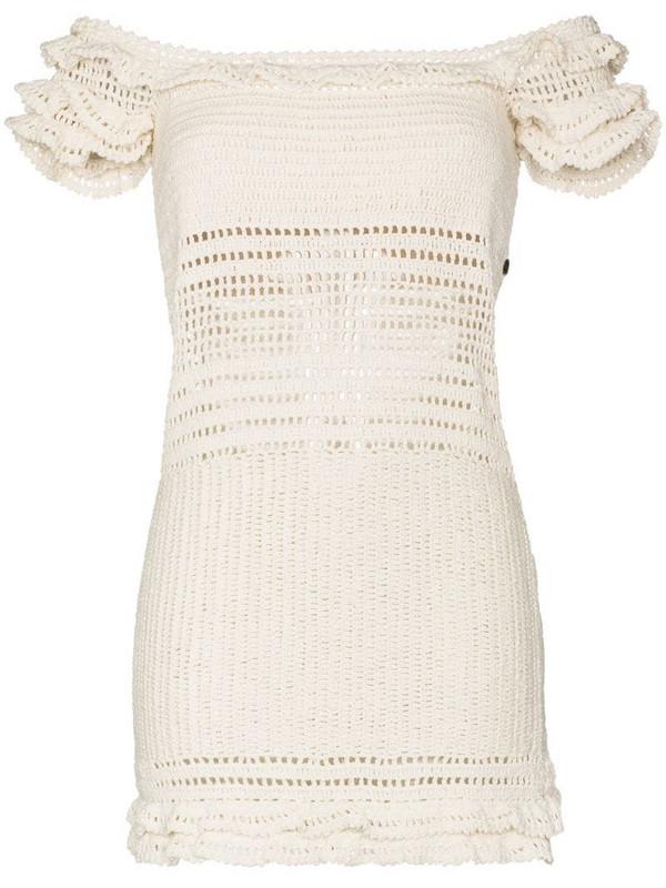 She Made Me Saachi ruffled crochet mini dress in white
