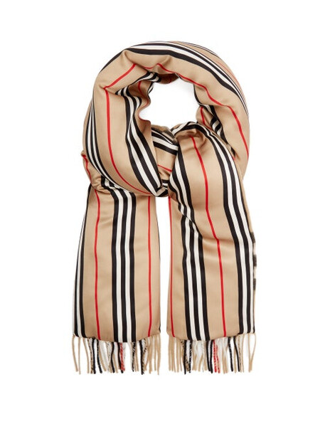Burberry - Vintage-check Cashmere And Silk-satin Scarf - Mens - Beige