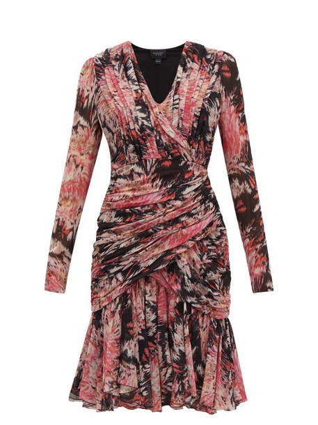 Giambattista Valli - Floral Print Ruched Silk Dress - Womens - Black Multi