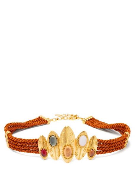 Sonia Petroff - Shield Braided Silk-cord Belt - Womens - Brown Multi