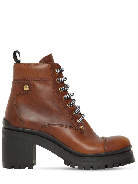 MIU MIU 80mm Leather Ankle Boots in brown