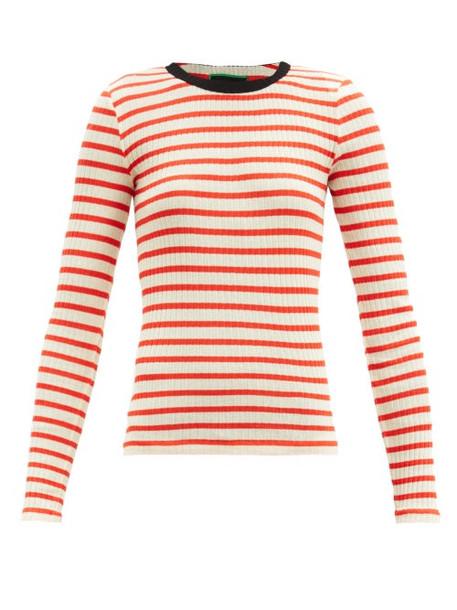 La Fetiche - Striped Cotton-jersey Top - Womens - Red Multi