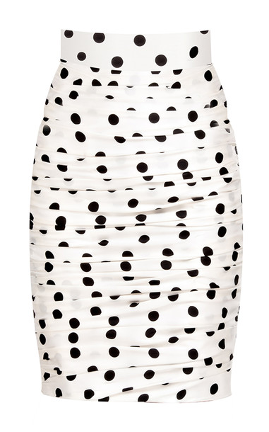 Bambah Polka Dot Silk Ruched Pencil Skirt Size: 12 in print