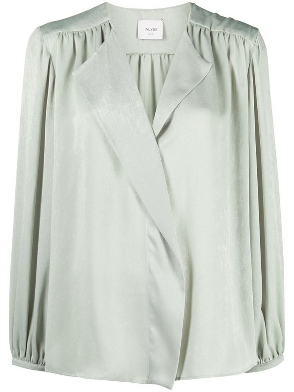 Alysi gathered-detail wrap blouse in green