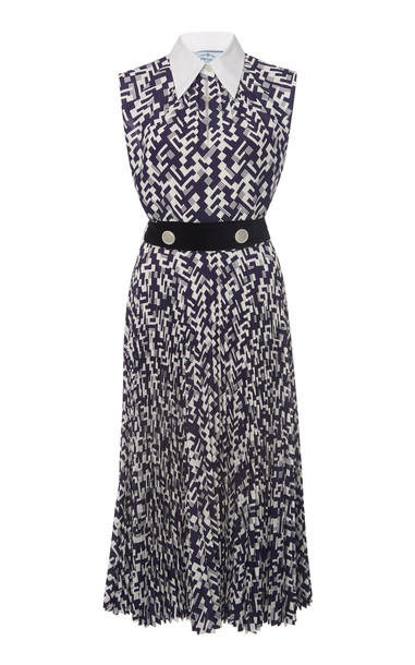 Prada Printed Collared Dress Size: 36 in print