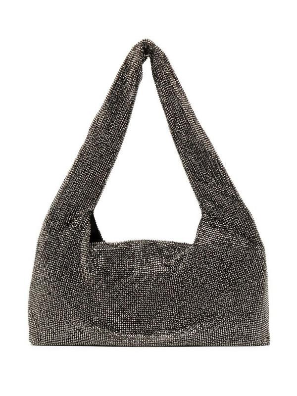 Kara stud embellished shoulder bag in black