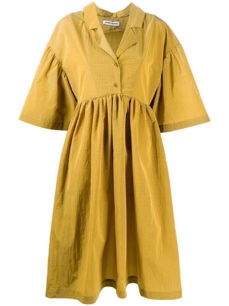 Henrik Vibskov oversized-sleeve midi dress in yellow