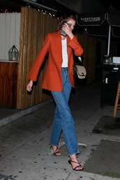 jacket,red blazer,kaia gerber,model off-duty,fall outfits,jeans,denim