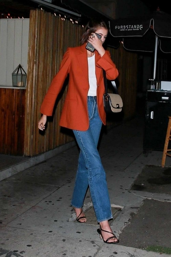jacket red blazer kaia gerber model off-duty fall outfits jeans denim