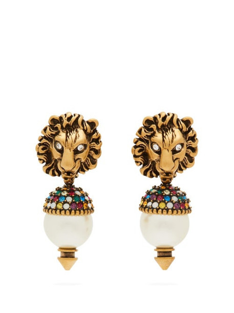 Gucci - Crystal And Faux Pearl Embellished Drop Earrings - Womens - Gold