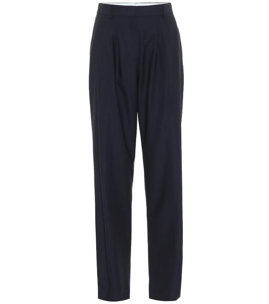 Salvatore Ferragamo High-rise slim wool pants in blue