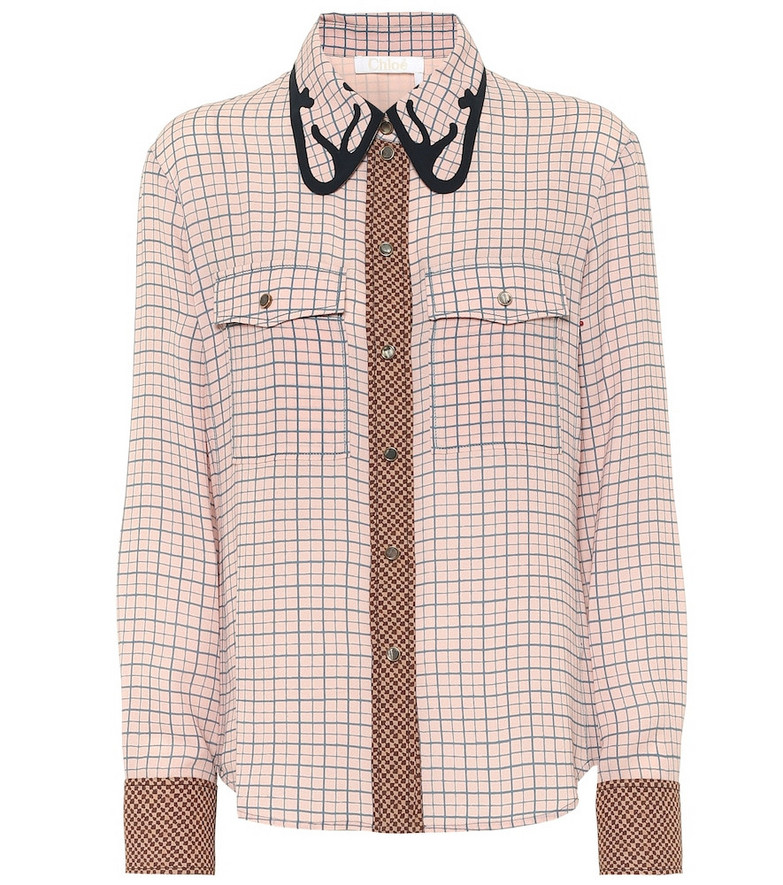 Chloé Checked silk blouse in pink