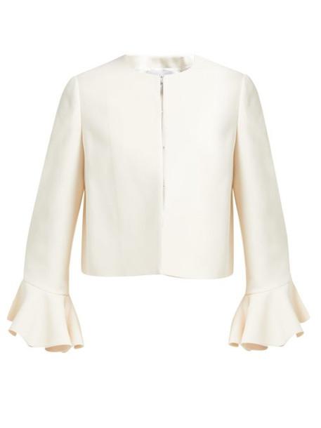 Valentino - Ruffled Cuff Wool Blend Jacket - Womens - Ivory