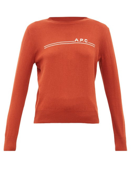 A.P.C. A.p.c. - Logo Intarsia Crew Neck Cotton Blend Sweater - Womens - Burgundy