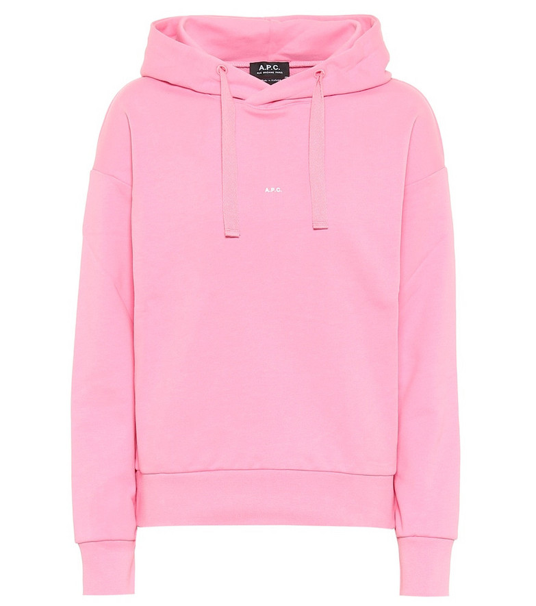 A.P.C. Cotton jersey hoodie in pink