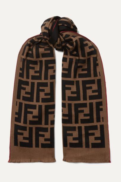 Fendi - Intarsia Wool And Silk-blend Scarf - Brown