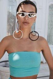 top,tirquoise,crop tops,bandeau,sunglasses,model,emily ratajkowski,summer top