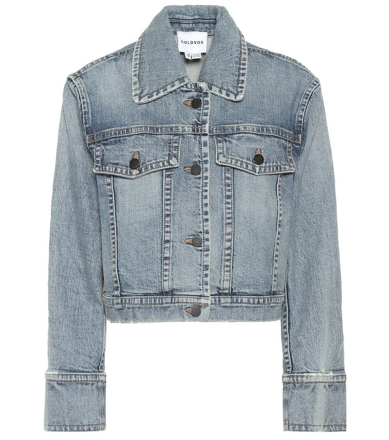 COLOVOS Cropped denim jacket in blue