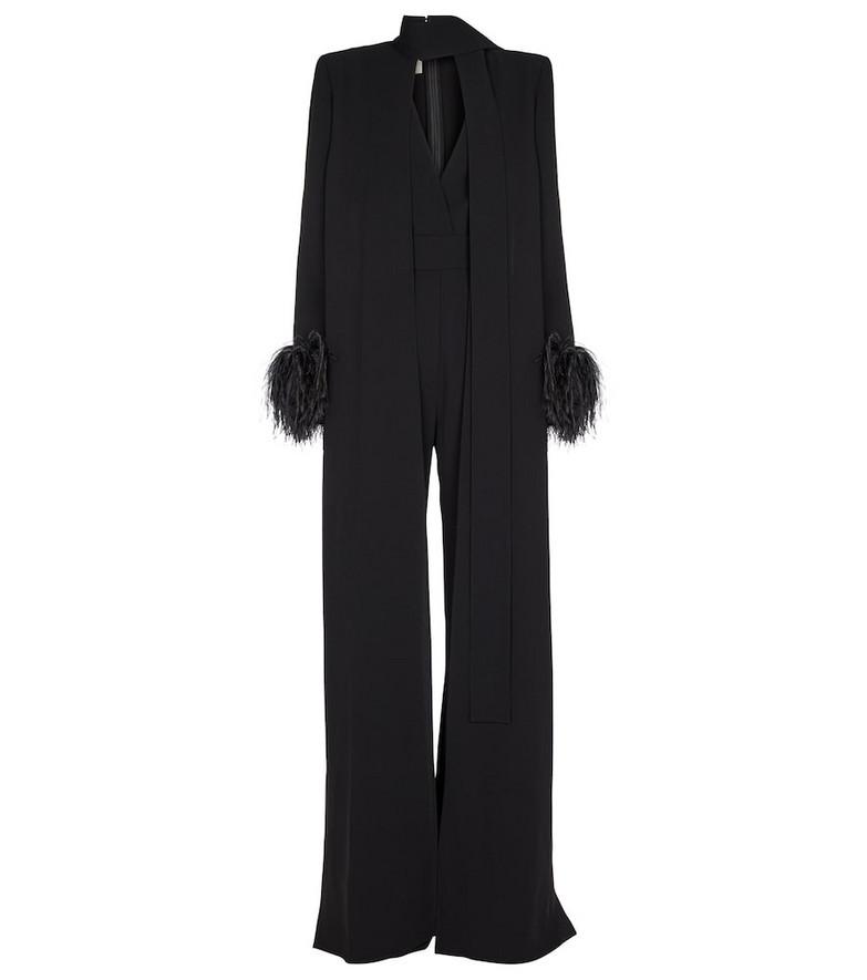 ELIE SAAB Feather-trimmed crêpe jumpsuit in black
