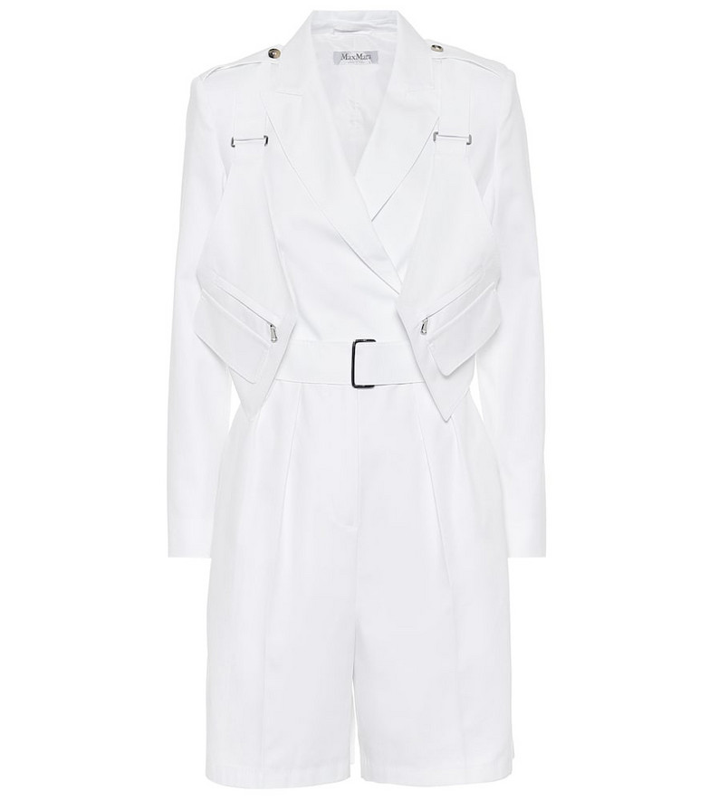 Max Mara Hello cotton-twill playsuit in white