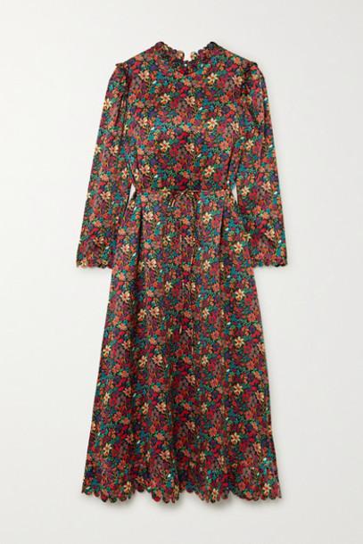 Horror Vacui - Vestia Scalloped Floral-print Silk-satin Midi Dress - Burgundy