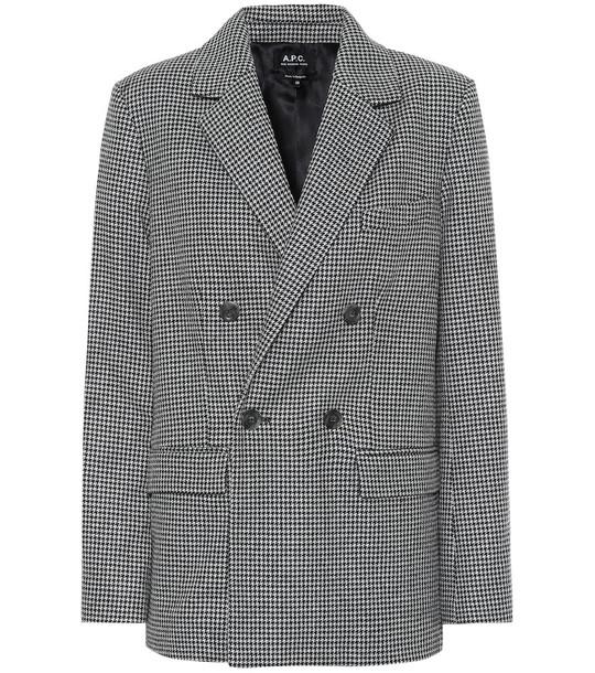 A.P.C. Plum houndstooth wool-blend blazer in grey