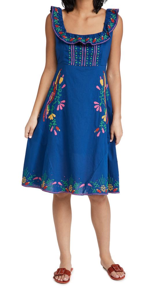 FARM Rio Cross Stitch Embroidered Midi Dress in multi