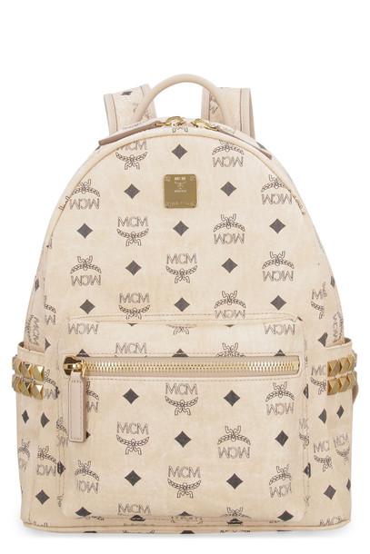 MCM Stark Side Studs Visetos Backpack in beige