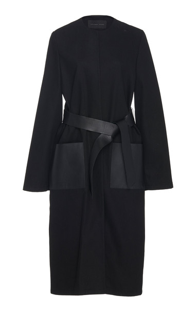 Jeffrey Dodd Leather Pocket Belted Cotton Coat in black