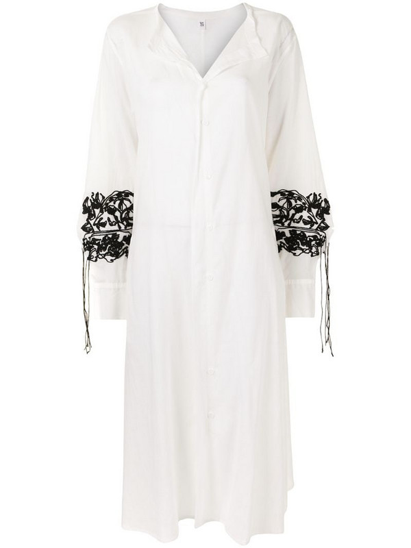 Y's oversized draped maxi dress in white